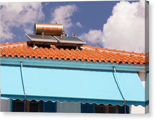 Lesvos Canvas Print - Solar Panels On Houses by Ashley Cooper