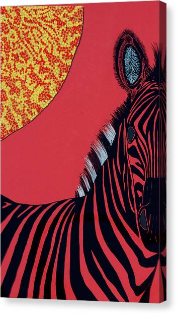 Solar Red Zebra Canvas Print by Patrick OLeary