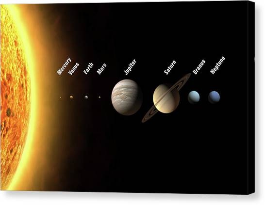 Sun Belt Canvas Print - Solar System's Planets by Science Photo Library