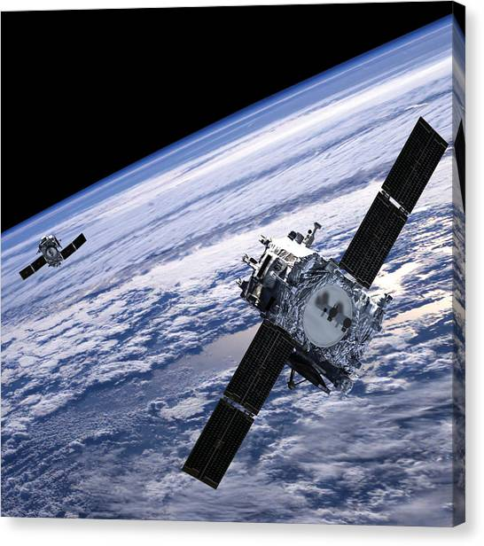 Outer Space Canvas Print - Solar Terrestrial Relations Observatory Satellites by Anonymous
