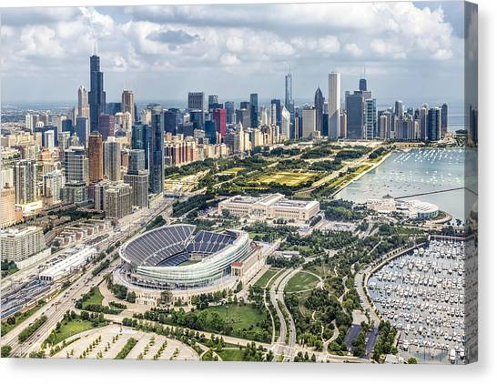 Lake Michigan Canvas Print - Soldier Field And Chicago Skyline by Adam Romanowicz