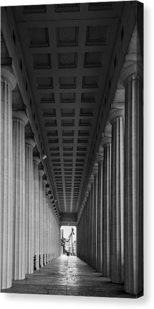 Soldier Field Canvas Print - Soldier Field Colonnade Chicago B W B W by Steve Gadomski
