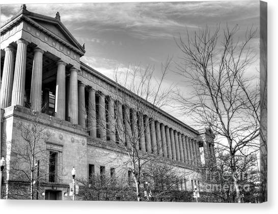 Soldier Field Canvas Print - Soldier Field In Black And White by David Bearden