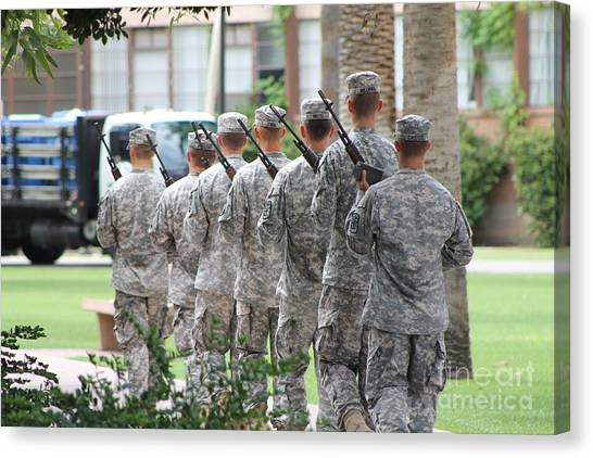 Rotc Canvas Print - Soldiers Leaving Ceremony 2 by Pamela Walrath