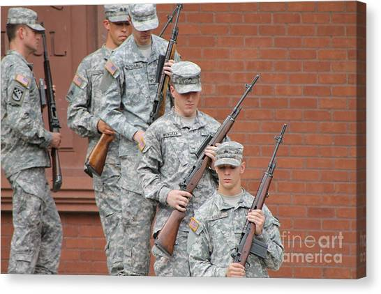 Rotc Canvas Print - Soldiers Leaving Ceremony by Pamela Walrath