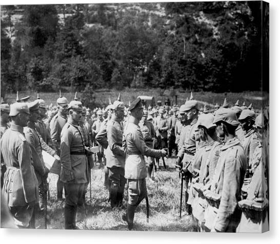 1916 Canvas Print - Soldiers Receive Iron Crosses by Underwood Archives