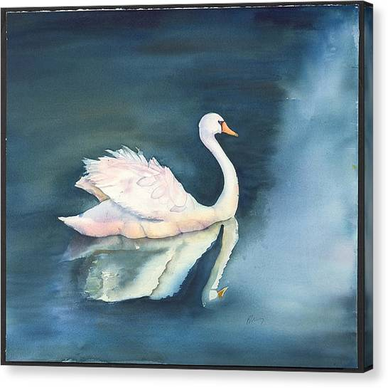 Solitary Swan Canvas Print by Bonny Lundy
