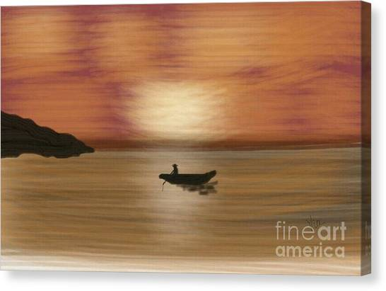 Lonliness Canvas Print - Solitude At Dawn by Judy Via-Wolff