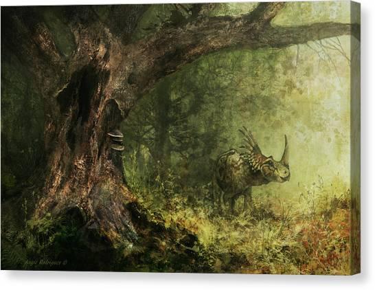 Solitude - Styracosaurus Canvas Print by Angie Rodrigues