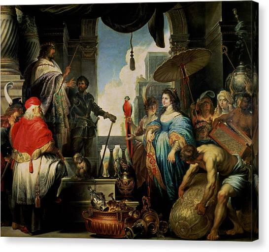 Old Testament Canvas Print - Solomon And The Queen Of Sheba Oil On Canvas by Erasmus Quellinus