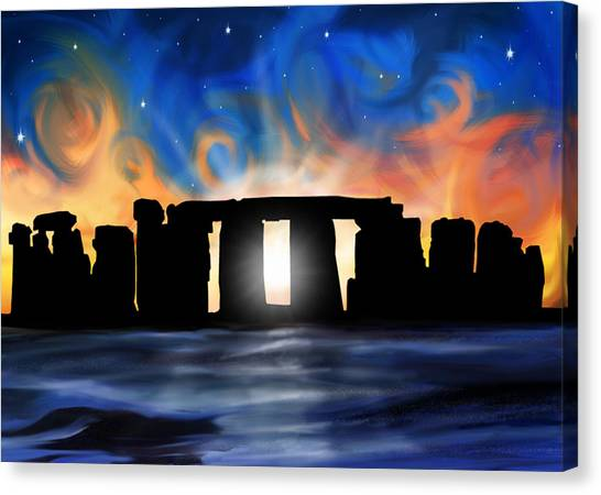 Atheism Canvas Print - Solstice At Stonehenge  by David Kyte