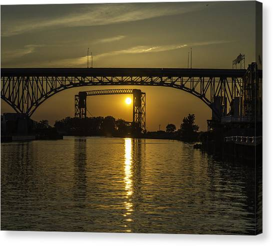 Solstice Sun Through Two Bridges Canvas Print