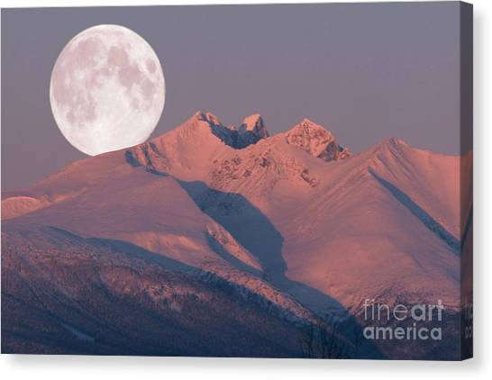 Solstice Sunrise Alpenglow Full Moon Setting Canvas Print
