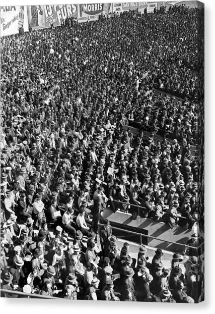 Yankee Stadium Canvas Print - Baseball Fans At Yankee Stadium In New York   by Underwood Archives