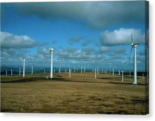 Wind Farms Canvas Print - Some Of The Turbines Forming A Wind Farm In Wales by David Taylor/science Photo Library