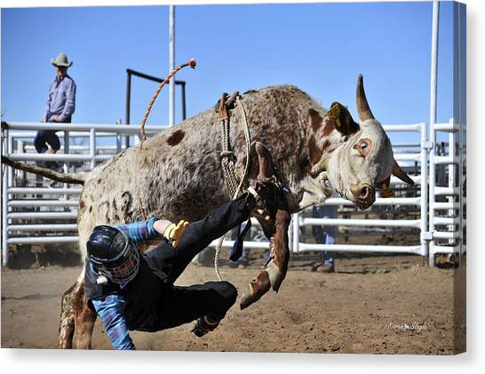 Bull Riding Canvas Print - Some You Win Some You Lose by Karen Slagle