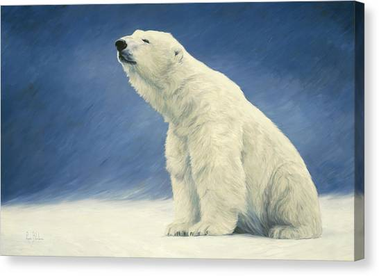 Polar Bears Canvas Print - Something In The Air by Lucie Bilodeau