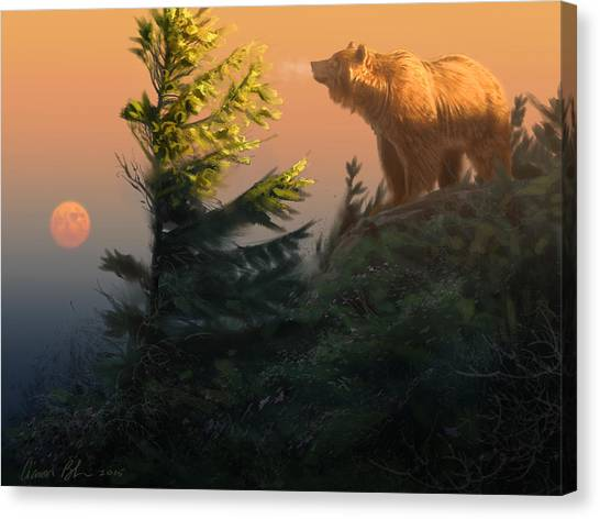 Mountain Sunrises Canvas Print - Something On The Air - Grizzly by Aaron Blaise