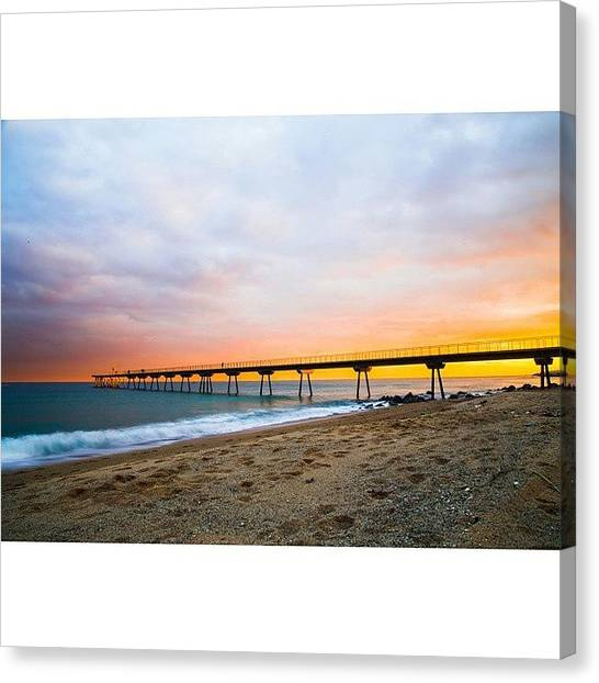 Barcelona Canvas Print - Sometimes. #sunset #beach #bridge #port by Oriol Sanchez