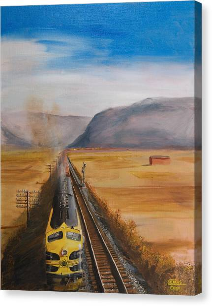 Freight Trains Canvas Print - Somewhere West Of Corning by Christopher Jenkins