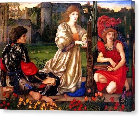 Harpsichords Canvas Print - Song Of Love by Edward Burne Jones