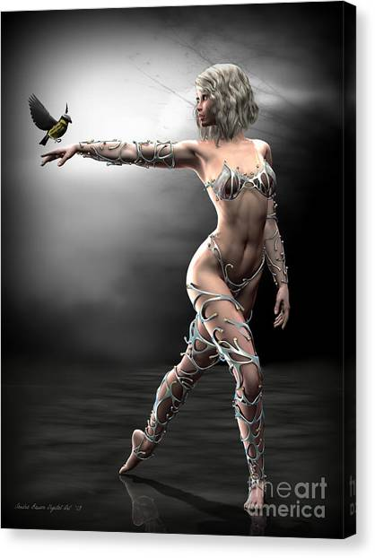 Songbird Canvas Print by Sandra Bauser Digital Art