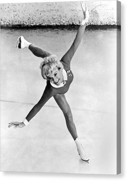 Figure Skating Canvas Print - Sonia Henie Glides On Ice by Underwood Archives