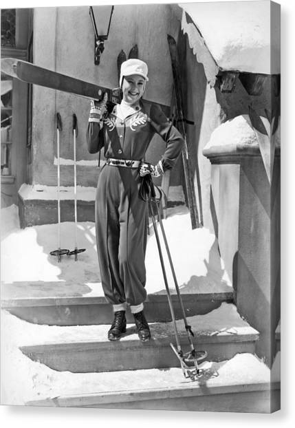Ski Canvas Print - Sonja Henie With Ski Gear by Underwood Archives