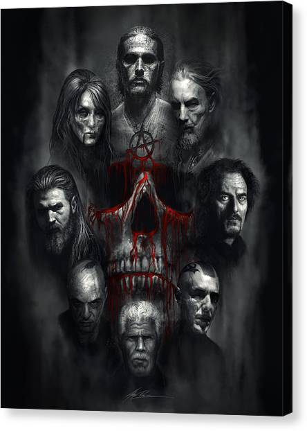 Skulls Canvas Print - Sons Of Anarchy Tribute by Alex Ruiz