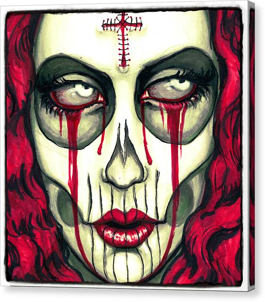 Skulls Canvas Print - Sorrow by Shayne  Bohner