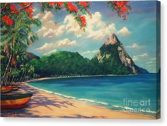 St. Lucia Canvas Print - Soufriere Bay   St. Lucia by John Clark