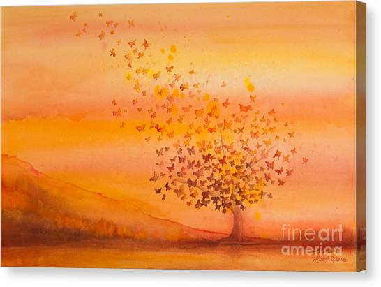 Butterflies Canvas Print - Soul Freedom Watercolor Painting by Michelle Wiarda-Constantine