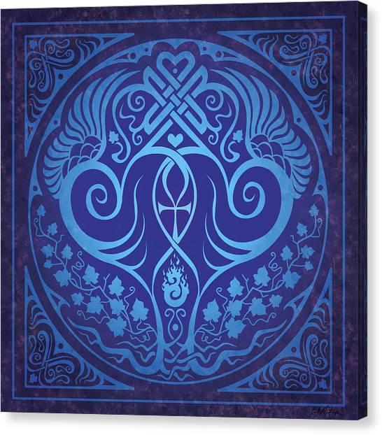 Celtic Art Canvas Print - Soul Mates - Blue by Cristina McAllister