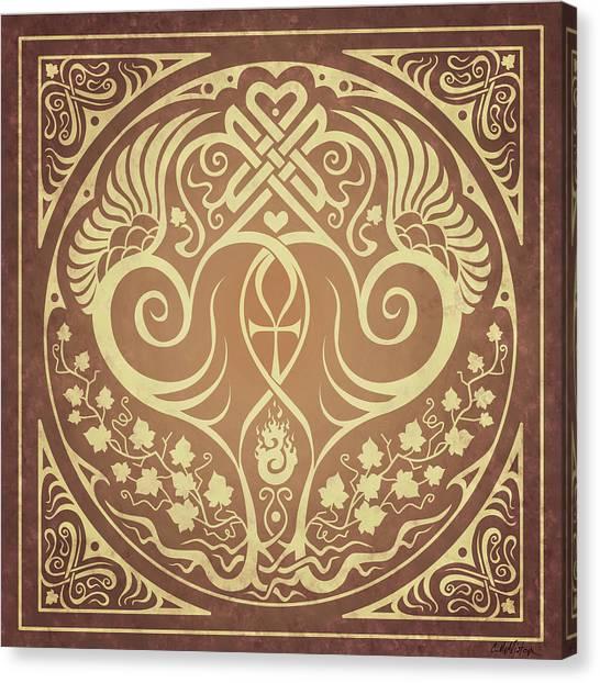 Celtic Art Canvas Print - Soul Mates - Gold by Cristina McAllister