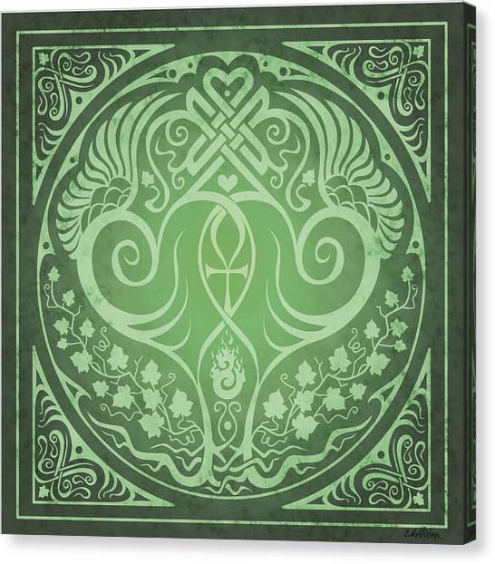 Celtic Art Canvas Print - Soul Mates - Green by Cristina McAllister