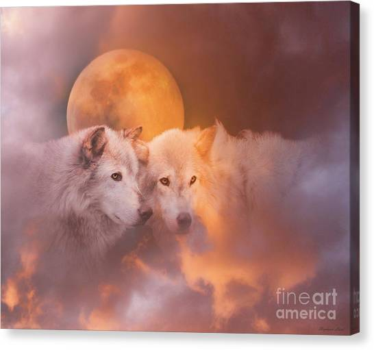 Wolf Moon Canvas Print - Soul Mates by Stephanie Laird