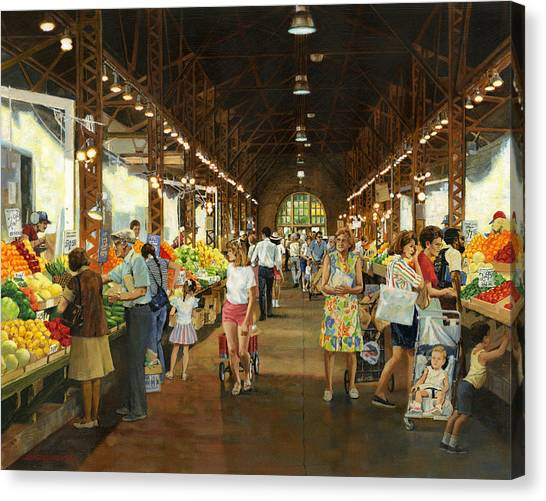 Vegetable Stands Canvas Print - Soulard Market Girl Pulling Wagon by Don  Langeneckert