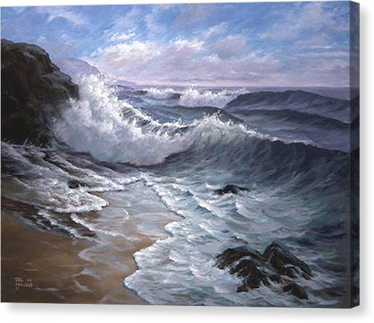 Sounding Waves At Big Sur Canvas Print