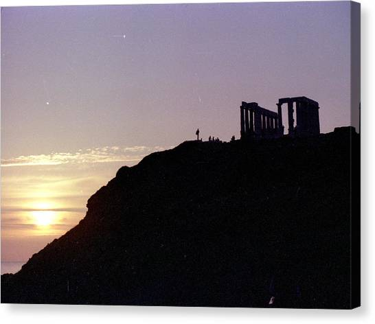 Sounion Greece Sunset Canvas Print by Mike McCool