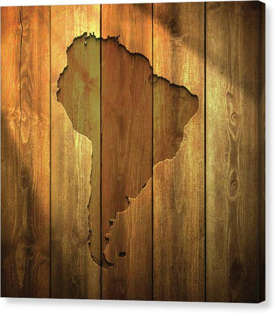 South America Map On Lit Wooden Canvas Print