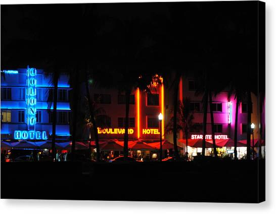South Beach Hotels Canvas Print