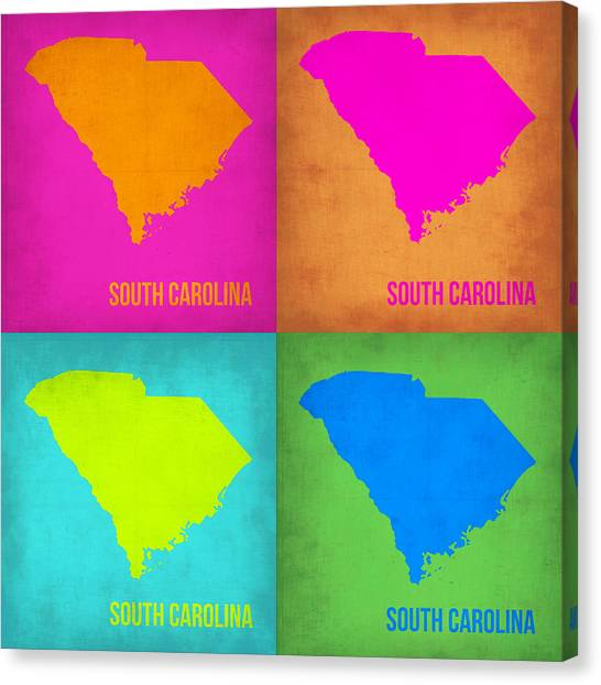 South Carolina Canvas Print - South Carolina Pop Art Map 1 by Naxart Studio