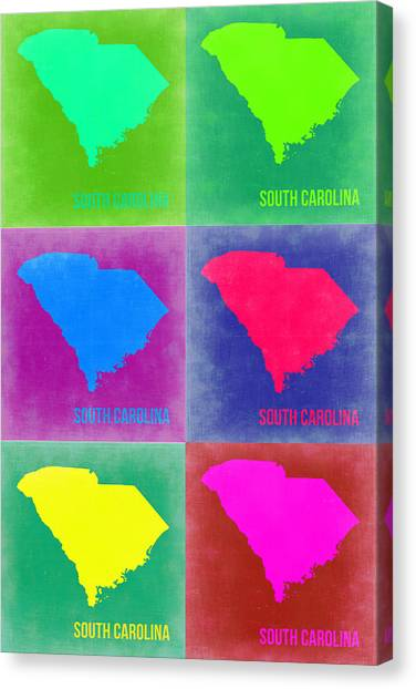 South Carolina Canvas Print - South Carolina Pop Art Map 2 by Naxart Studio