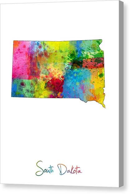 South Dakota Canvas Print - South Dakota Map by Michael Tompsett