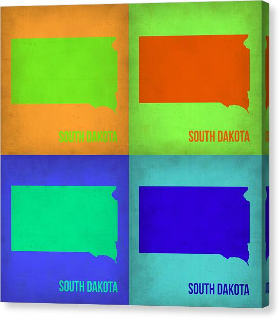 South Dakota Canvas Print - South Dakota Pop Art Map 1 by Naxart Studio