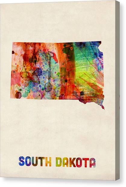 South Dakota Canvas Print - South Dakota Watercolor Map by Michael Tompsett
