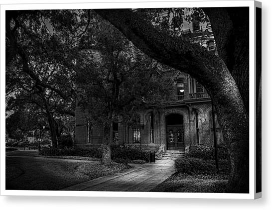 University Of Florida Canvas Print - South Entry Black And White by Marvin Spates