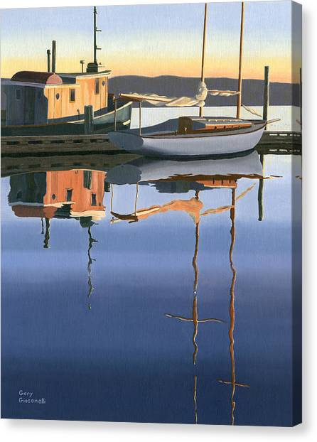 British Columbia Canvas Print - South Harbour Reflections by Gary Giacomelli