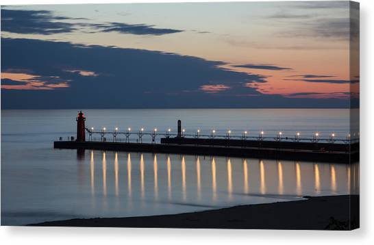 Lake Michigan Canvas Print - South Haven Michigan Lighthouse by Adam Romanowicz