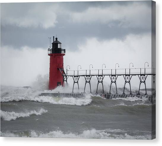 South Haven Pier Light In A Storm Canvas Print